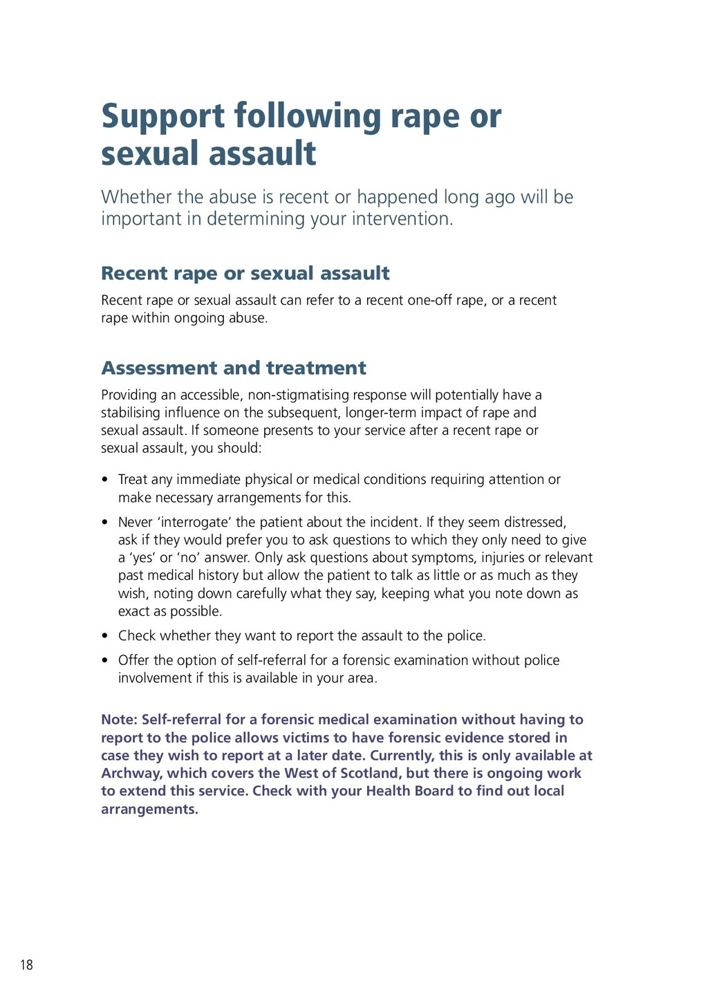 18 Support following rape or sexual assault Whe...
