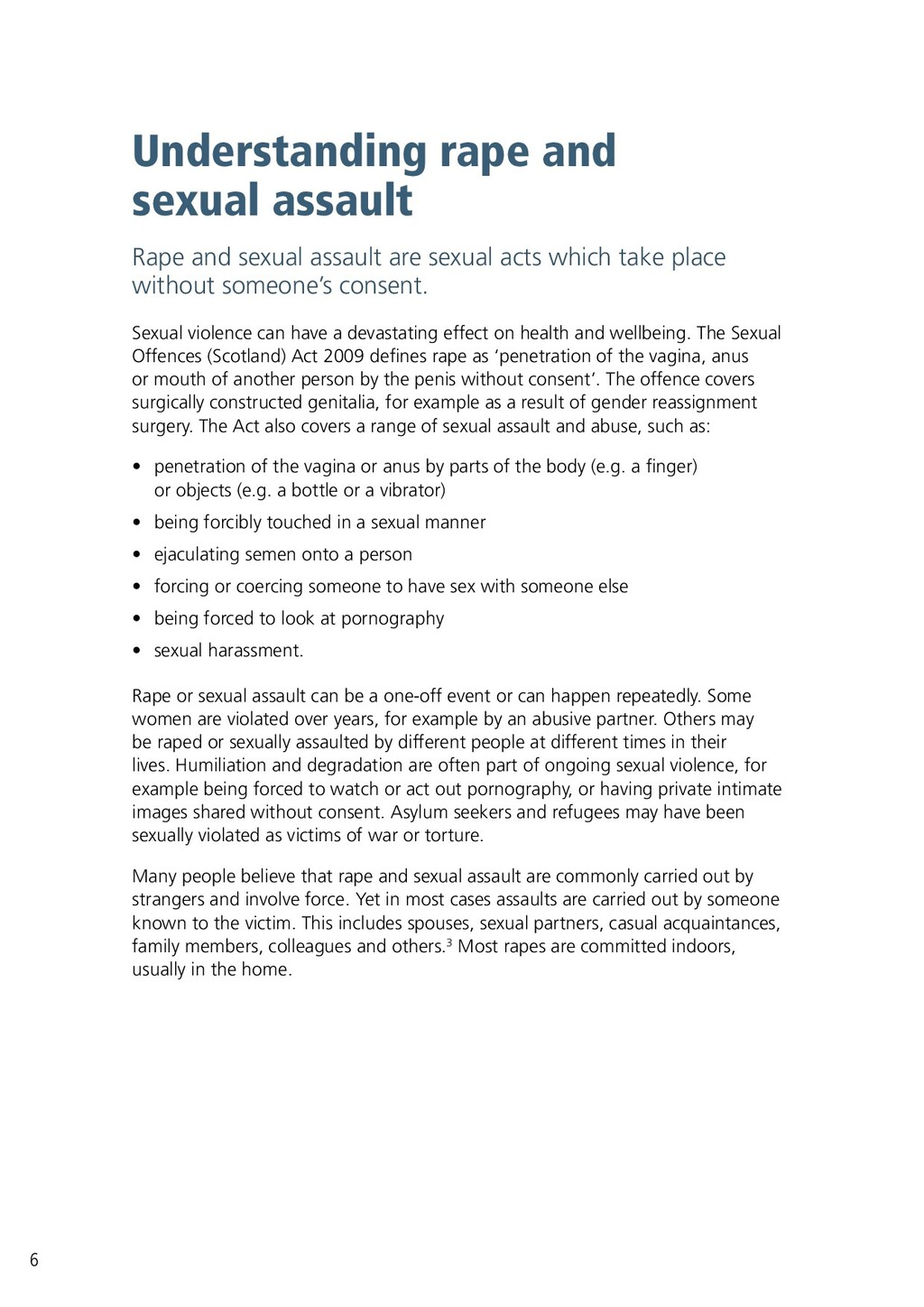 Understanding rape and sexual assault Rape and ...