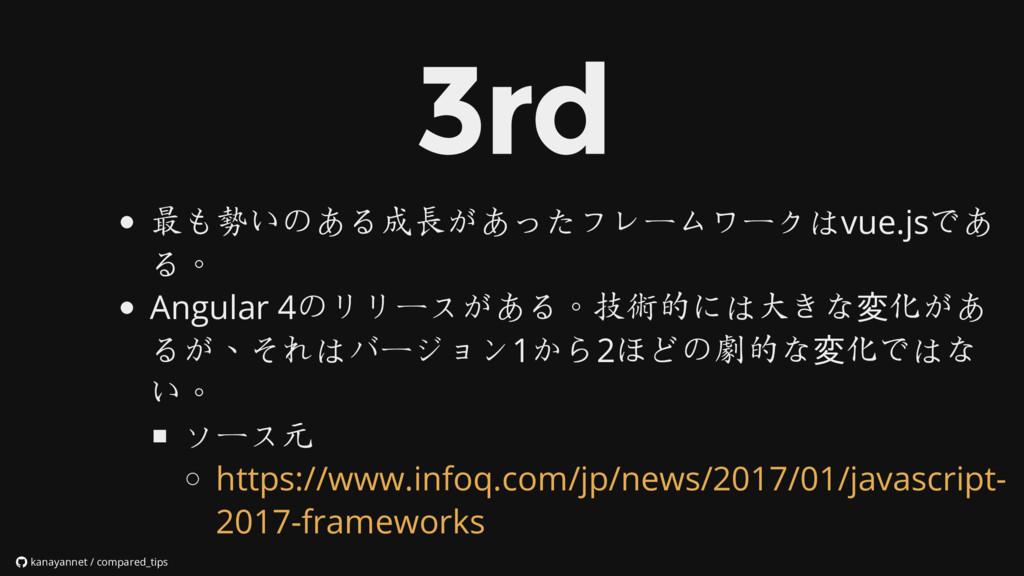 最も勢いのある成長があったフレームワークはvue.jsであ る。 Angular 4のリリース...