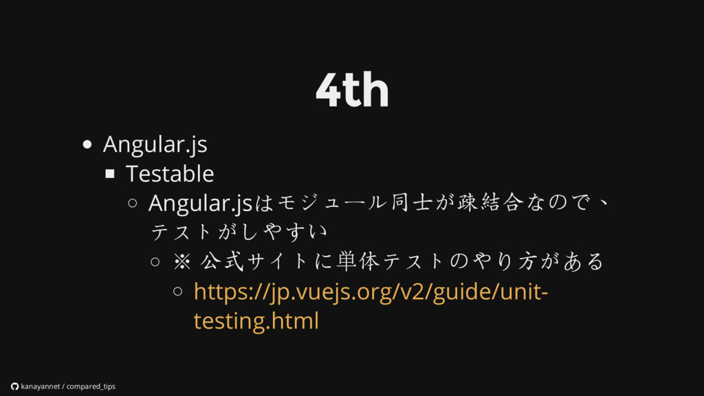 Angular.js Testable Angular.jsはモジュール同士が疎結合なので、 ...