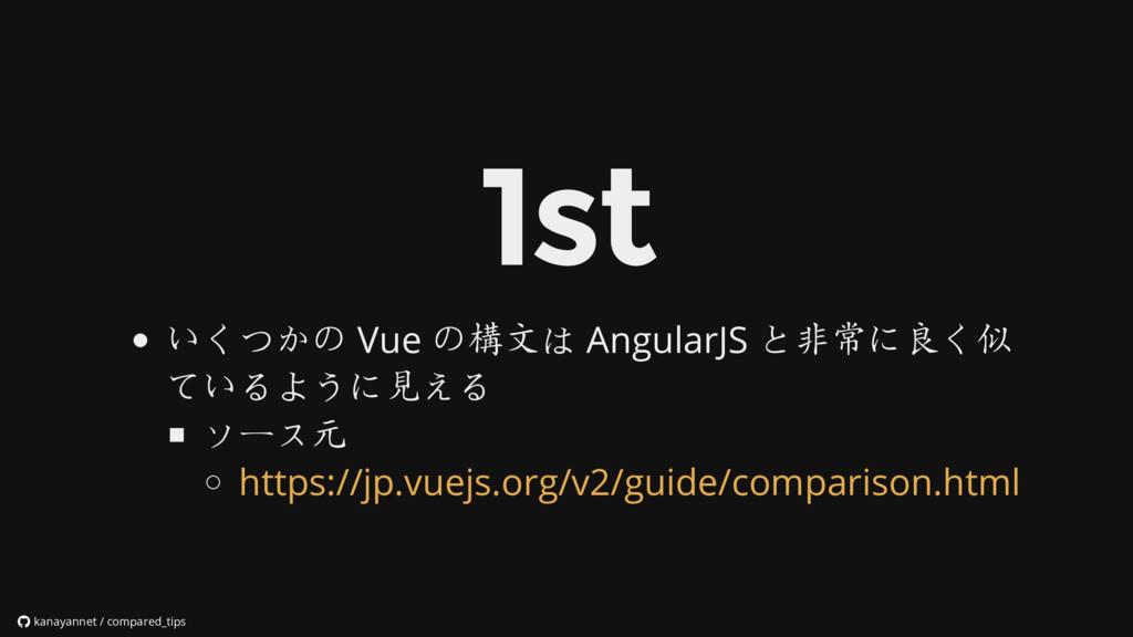 いくつかの Vue の構文は AngularJS と非常に良く似 ているように見える ソース元...
