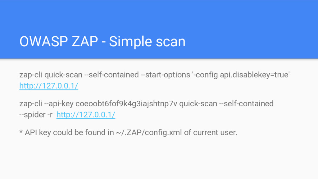 OWASP ZAP - Simple scan zap-cli quick-scan --se...