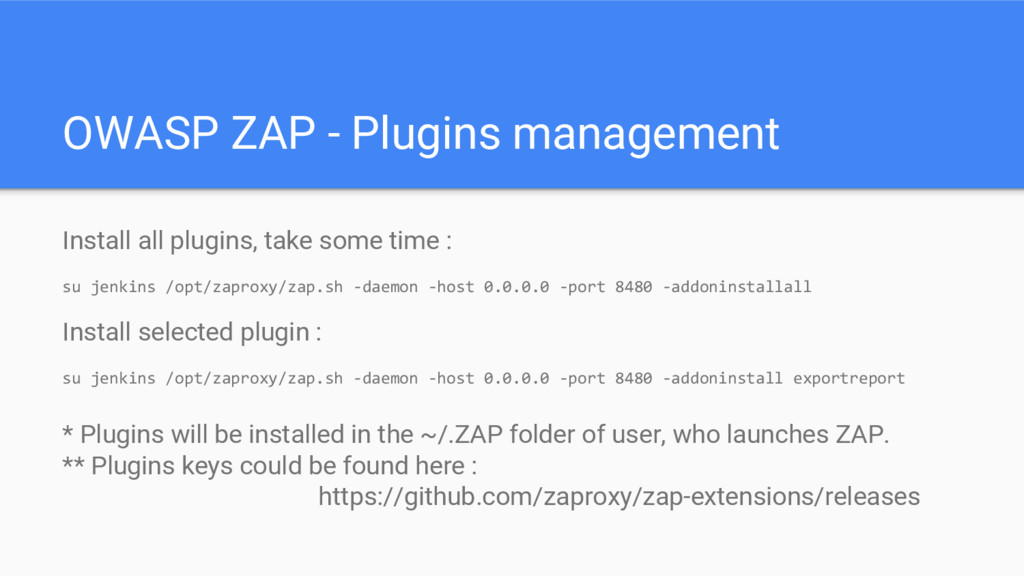 OWASP ZAP - Plugins management Install all plug...