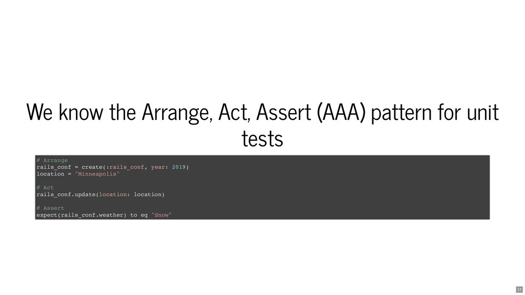 We know the Arrange, Act, Assert (AAA) pattern ...
