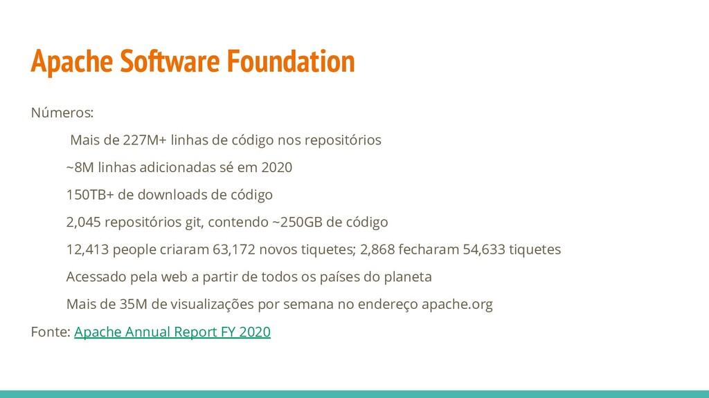 Apache Software Foundation Números: Mais de 227...