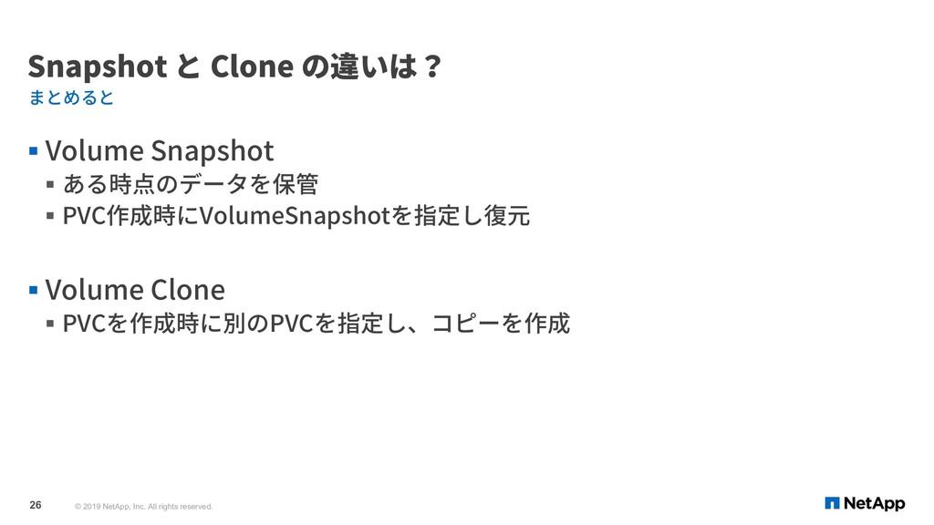 Snapshot と Clone の違いは? § Volume Snapshot § ある時点...