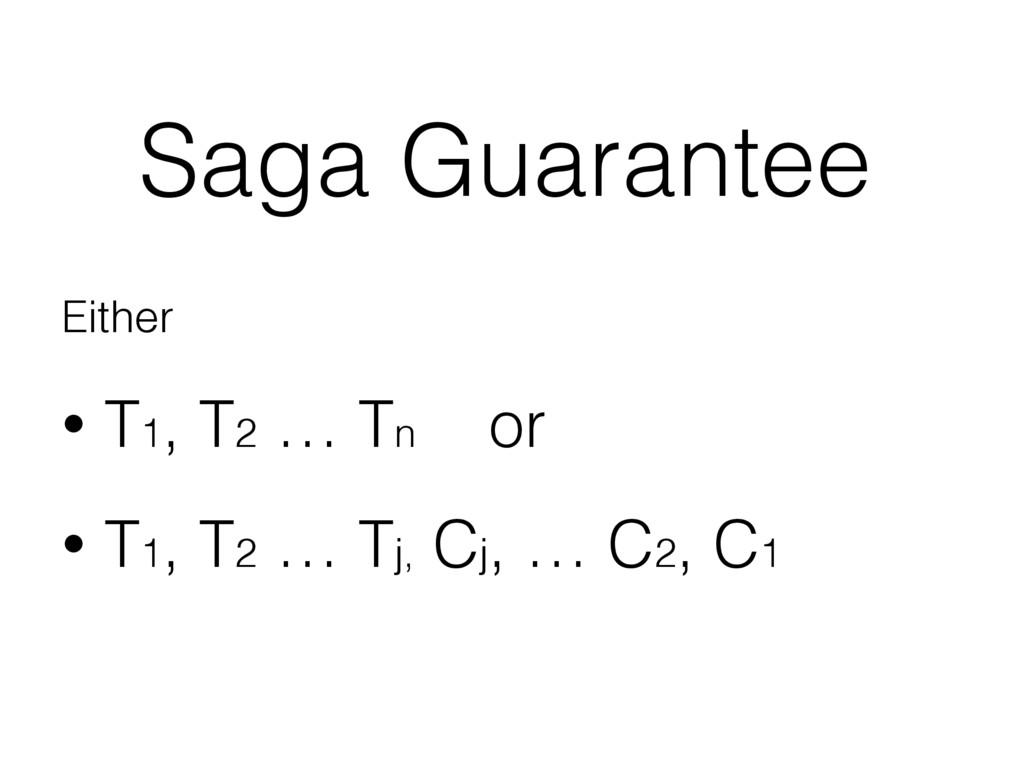 Saga Guarantee Either • T1, T2 … Tn or • T1, T2...