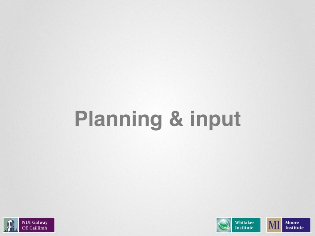 Planning & input