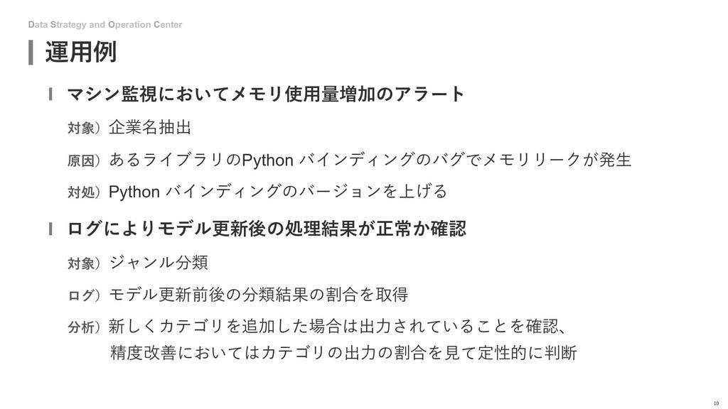Data Strategy and Operation Center 運⽤例 10 マシン監視...