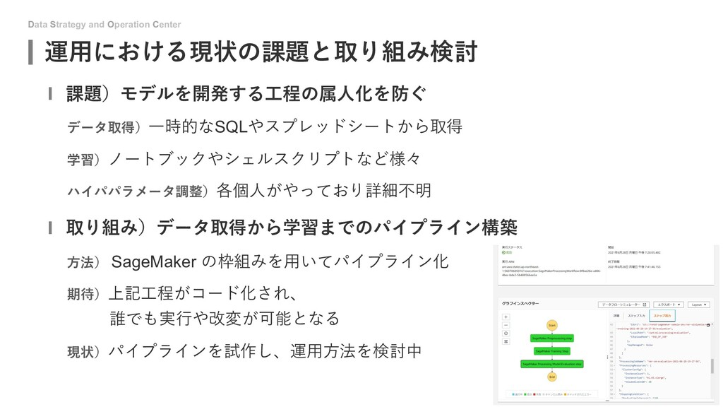 Data Strategy and Operation Center 運⽤における現状の課題と...
