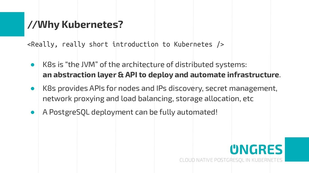 CLOUD NATIVE POSTGRESQL IN KUBERNETES //Why Kub...