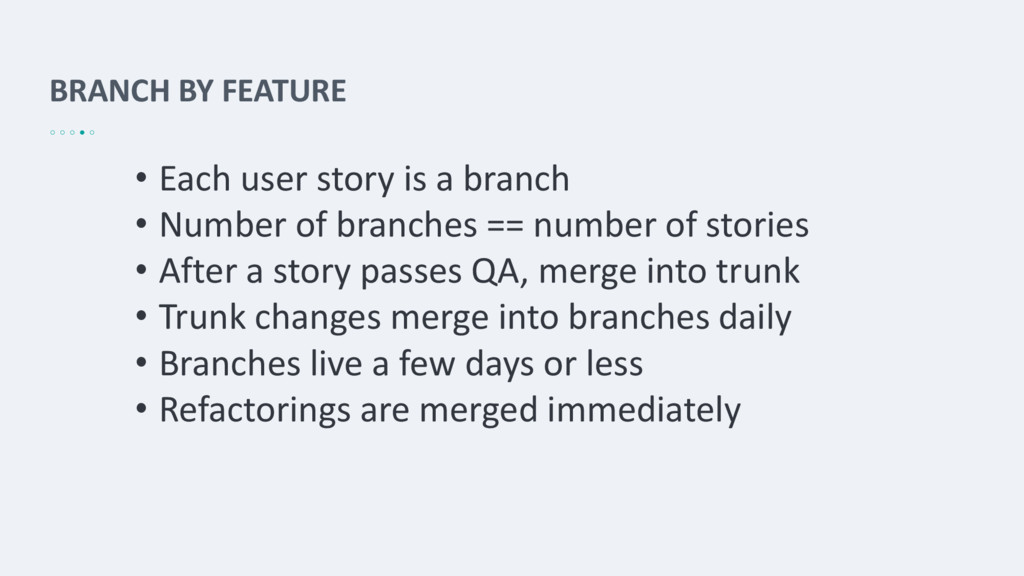 BRANCH BY FEATURE • Each user story is a branch...