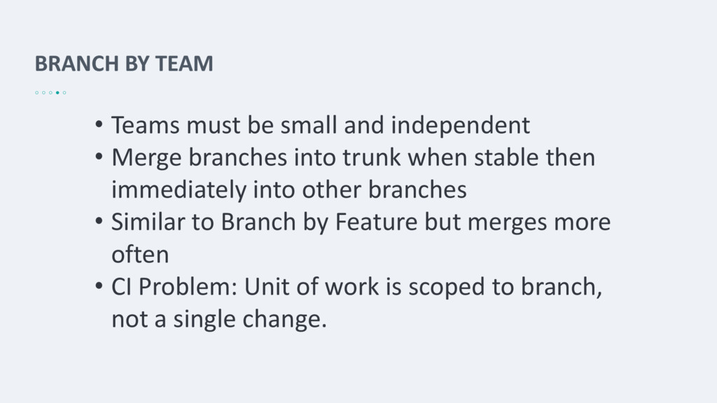 BRANCH BY TEAM • Teams must be small and indepe...