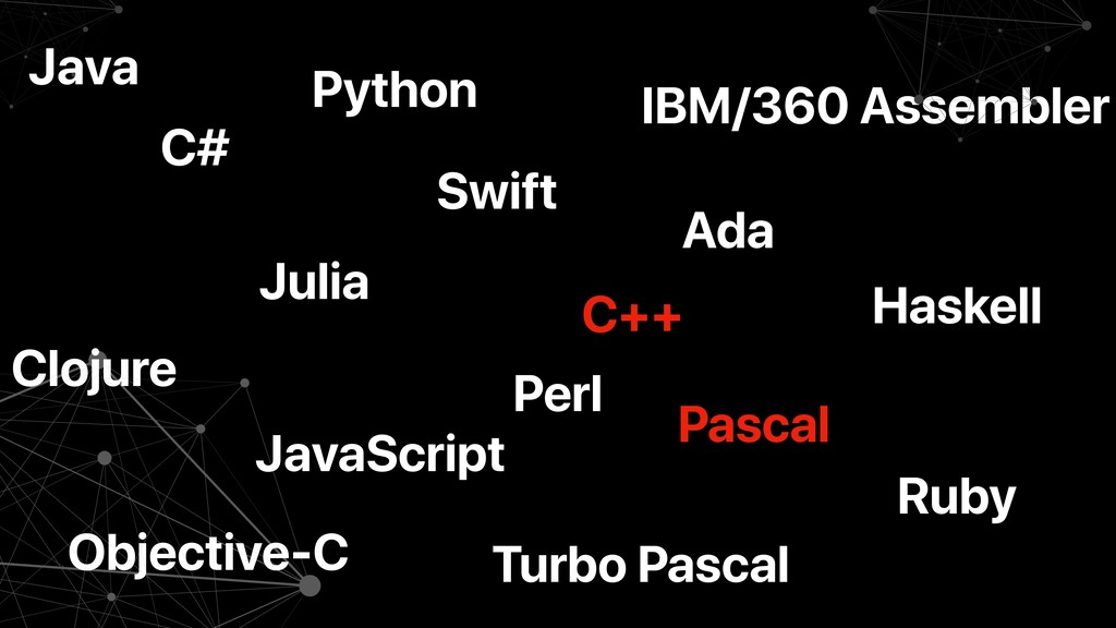 C++ Ada Julia Swift JavaScript Objective-C Pyth...