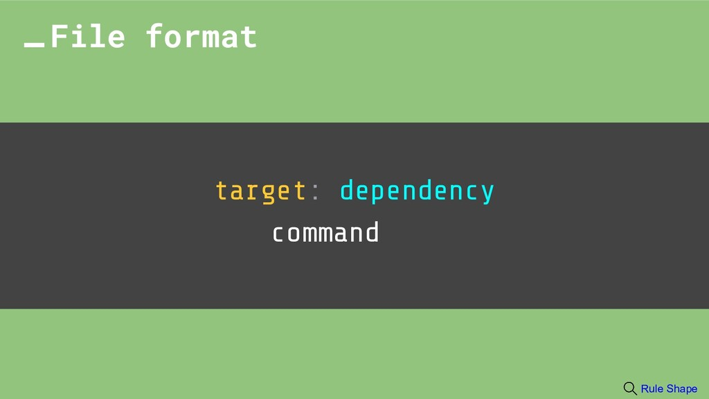 target: dependency command File format Rule Sha...
