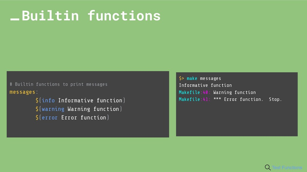 # Builtin functions to print messages messages:...