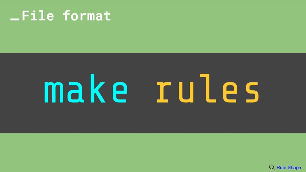 make rules File format Rule Shape