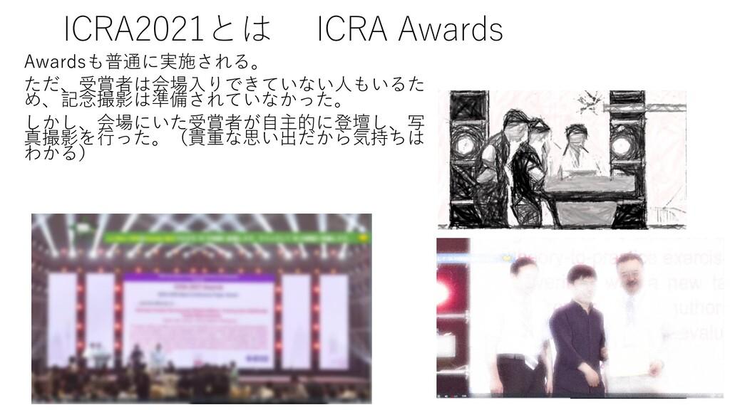 ICRA2021とは ICRA Awards Awardsも普通に実施される。 ただ、受賞者は...