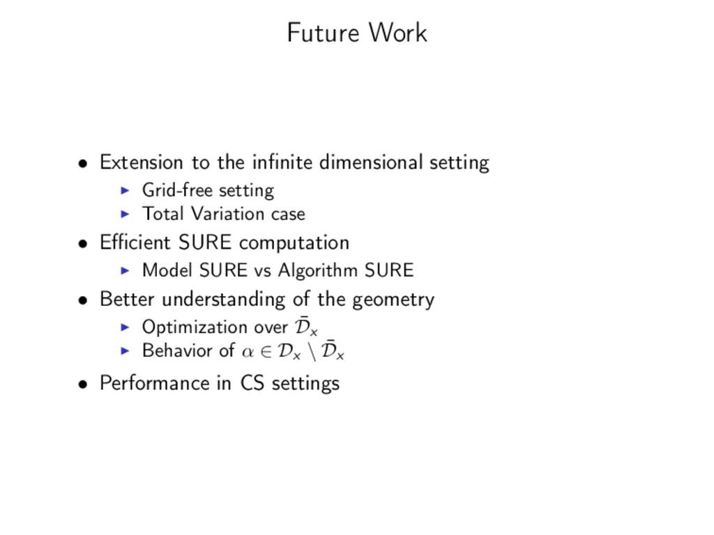 Future Work • Extension to the infinite dimensio...