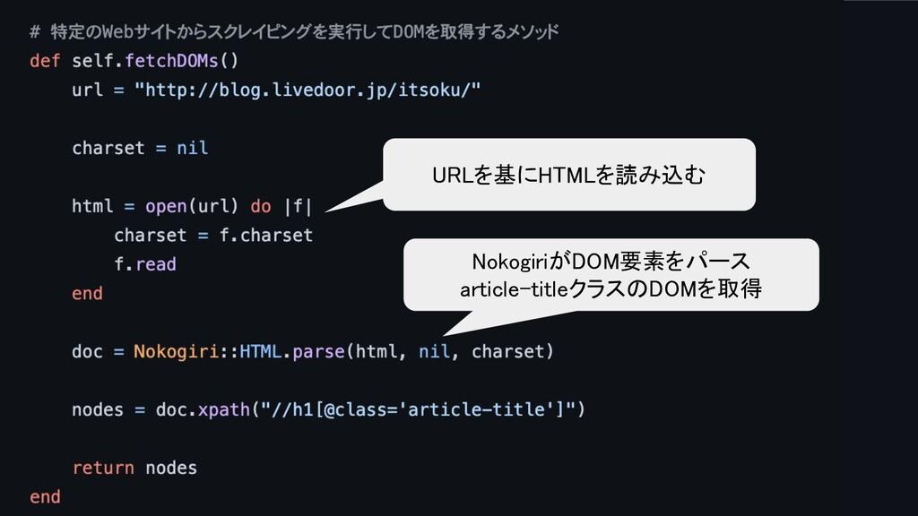 URLを基にHTMLを読み込む NokogiriがDOM要素をパース article-ti...