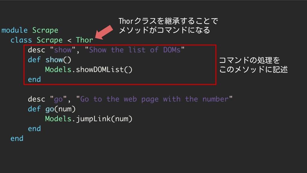 コマンドの処理を このメソッドに記述 Thorクラスを継承することで メソッドがコマンドになる