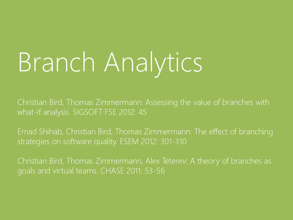 © Microsoft Corporation Branch Analytics Christ...