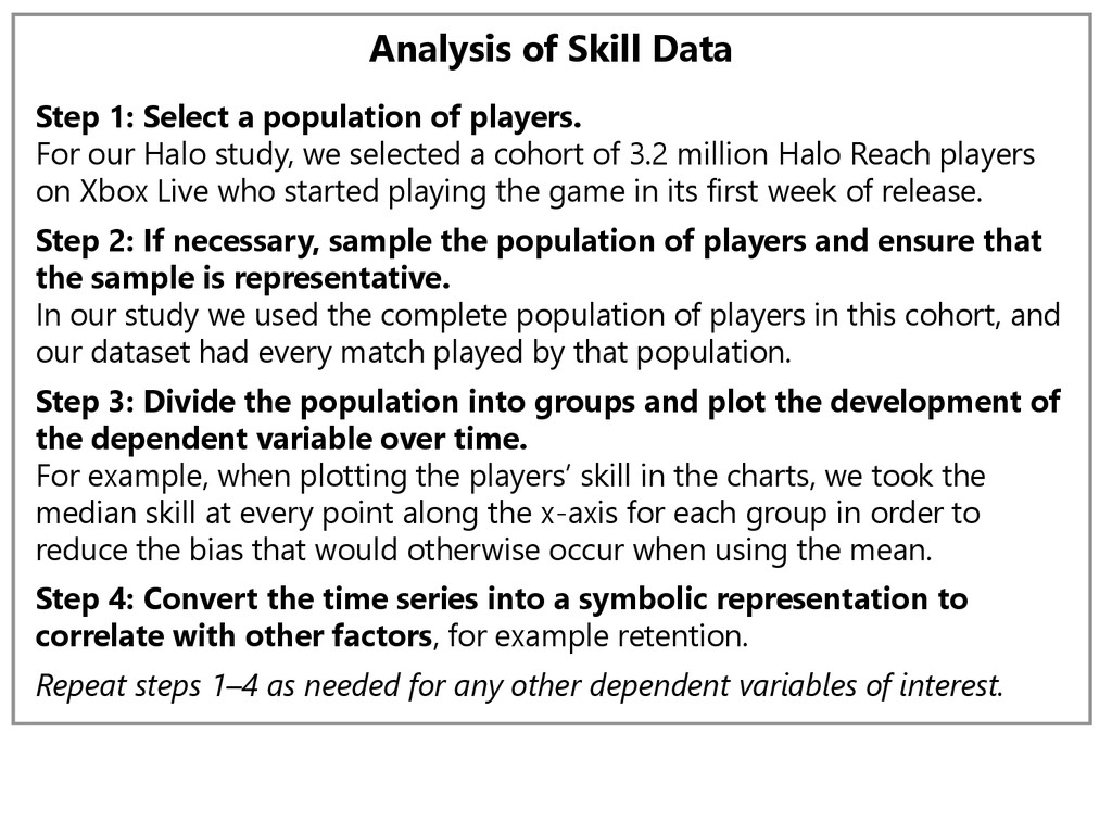 Analysis of Skill Data Step 1: Select a populat...