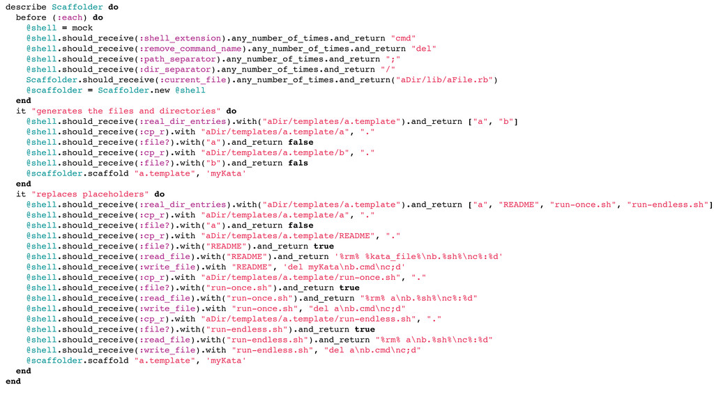 describe Scaffolder do before (:each) do @shell...