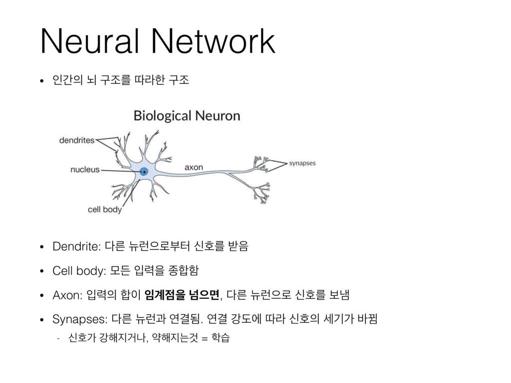 Neural Network • ੋр ֱ ҳઑܳ ٮۄೠ ҳઑ • Dendrite: ...
