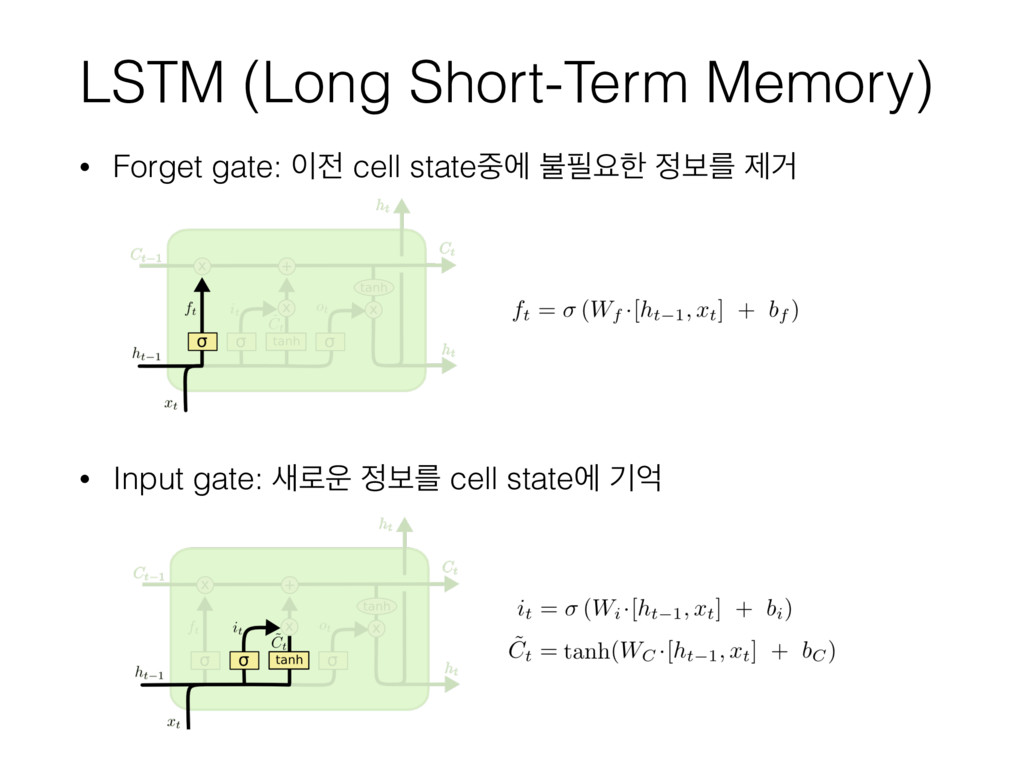 LSTM (Long Short-Term Memory) • Forget gate: ...