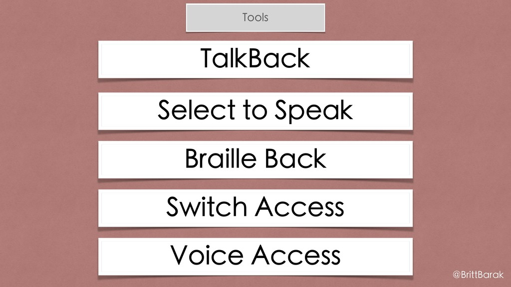 Tools TalkBack @BrittBarak Select to Speak Brai...