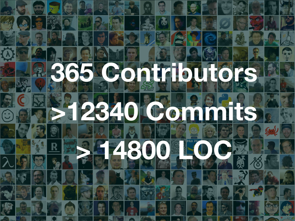 365 Contributors >12340 Commits > 14800 LOC