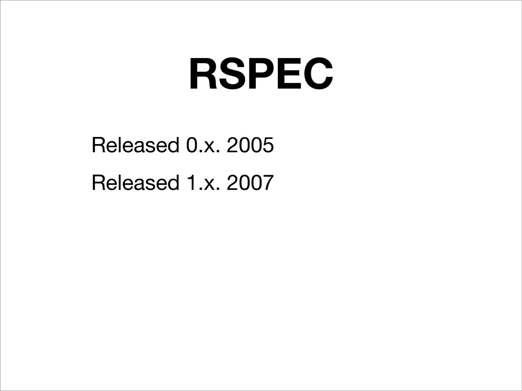 RSPEC Released 0.x. 2005 Released 1.x. 2007