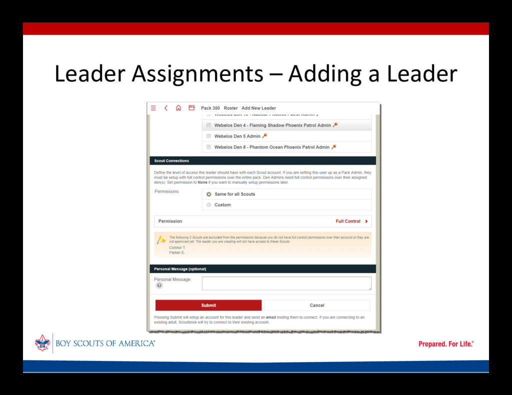 Leader Assignments – Adding a Leader