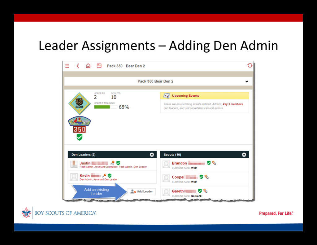Leader Assignments – Adding Den Admin