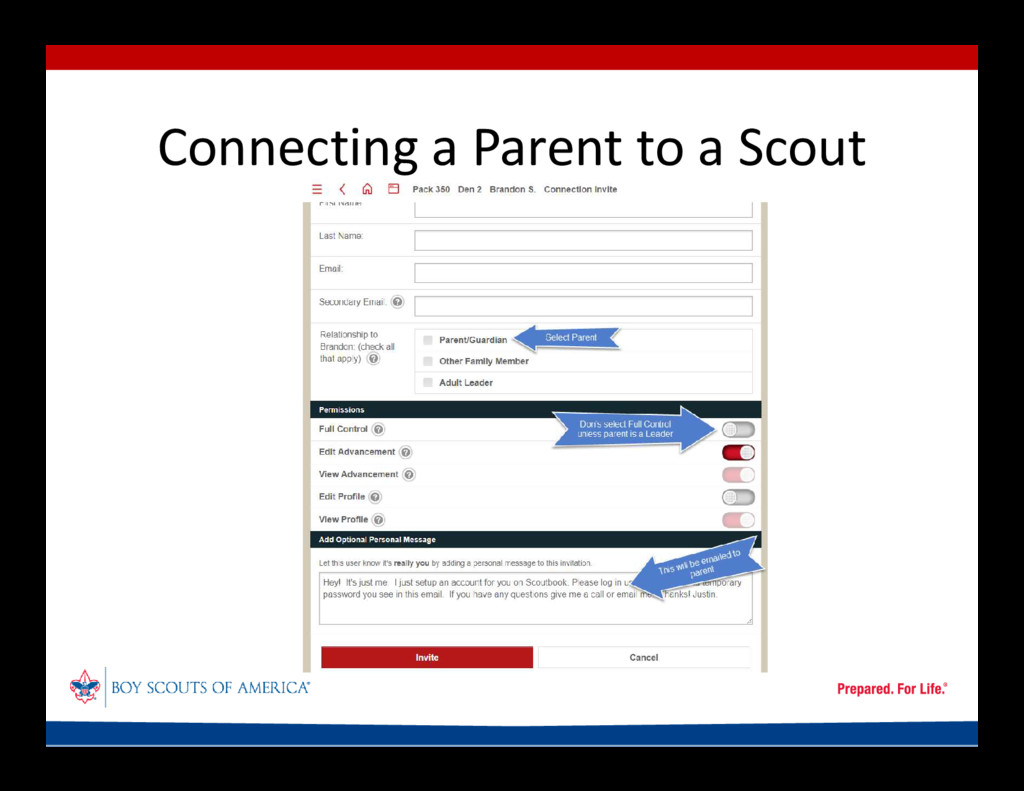 Connecting a Parent to a Scout