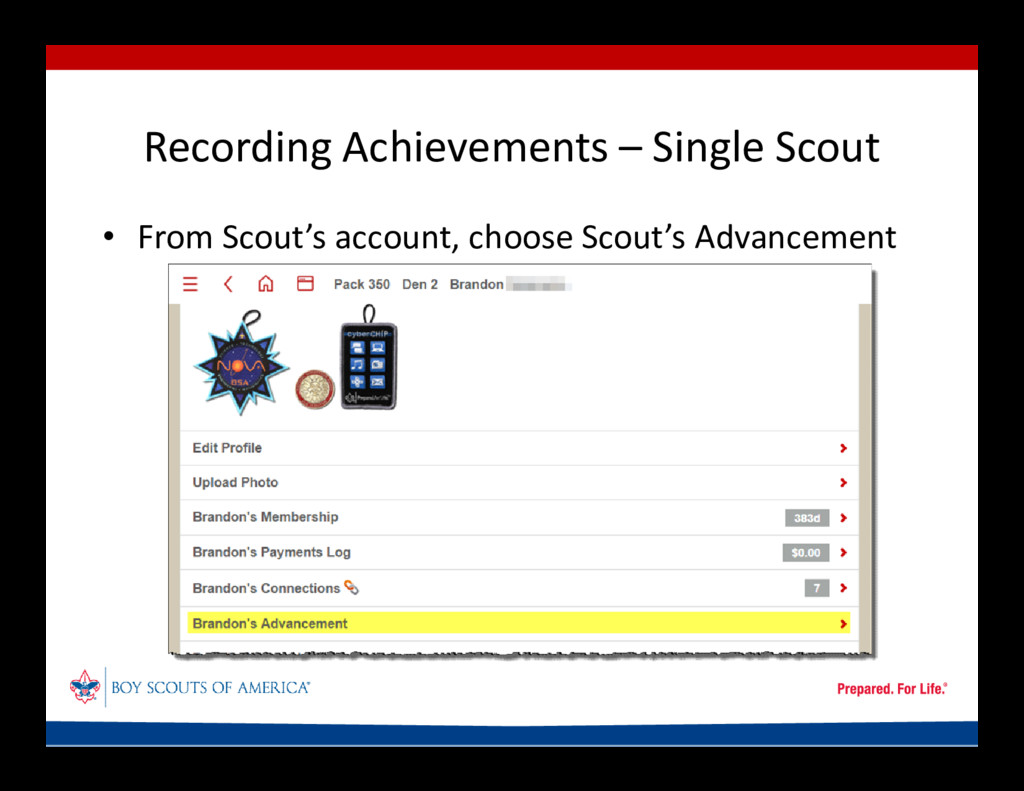 Recording Achievements – Single Scout • From Sc...