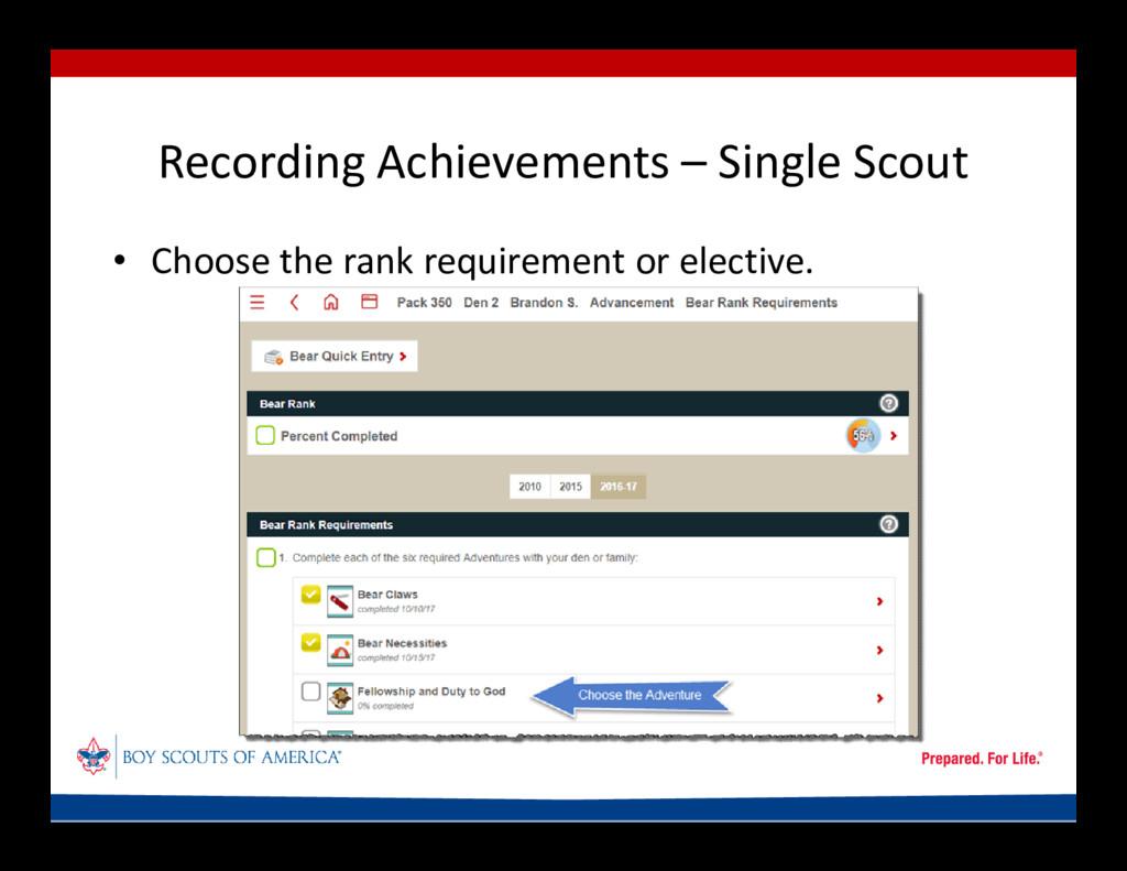 Recording Achievements – Single Scout • Choose ...