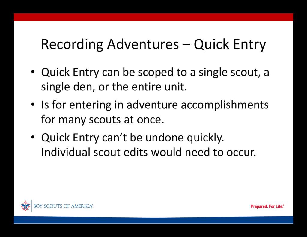 Recording Adventures – Quick Entry • Quick Entr...