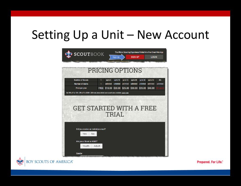 Setting Up a Unit – New Account