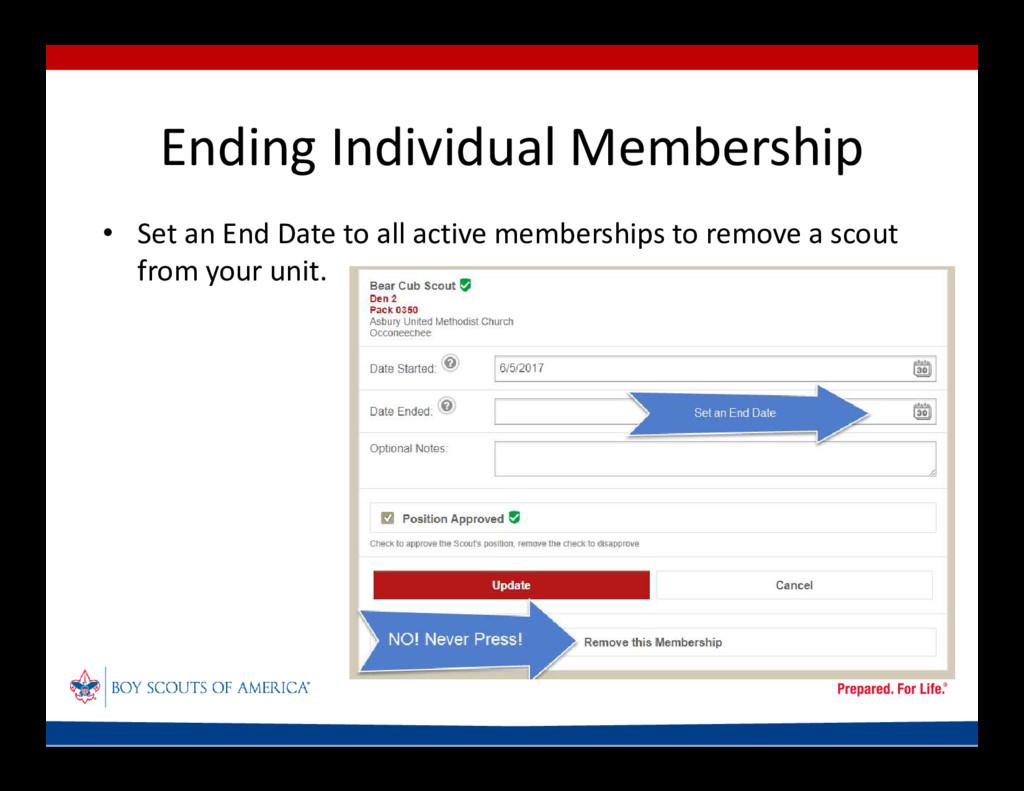 Ending Individual Membership • Set an End Date ...