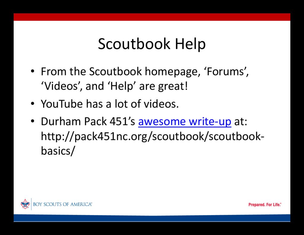 Scoutbook Help • From the Scoutbook homepage, '...