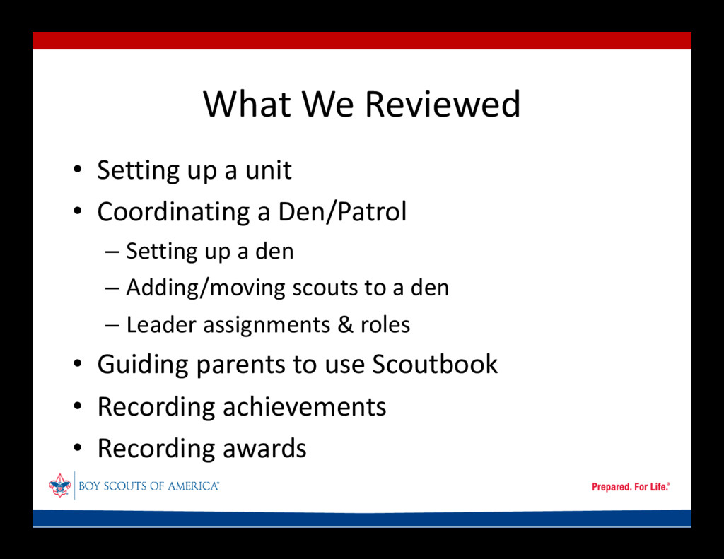 What We Reviewed • Setting up a unit • Coordina...