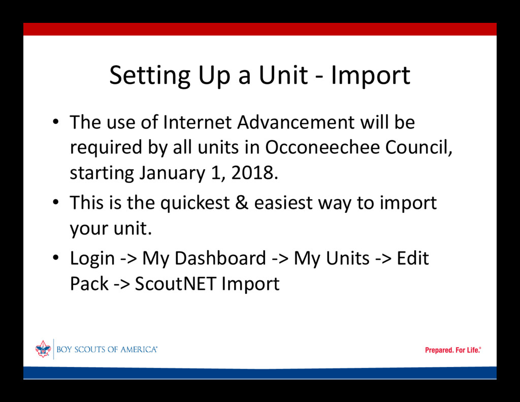 Setting Up a Unit - Import • The use of Interne...