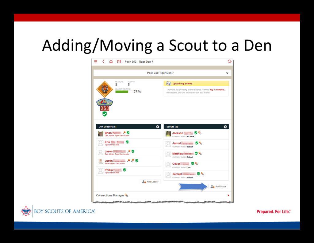 Adding/Moving a Scout to a Den