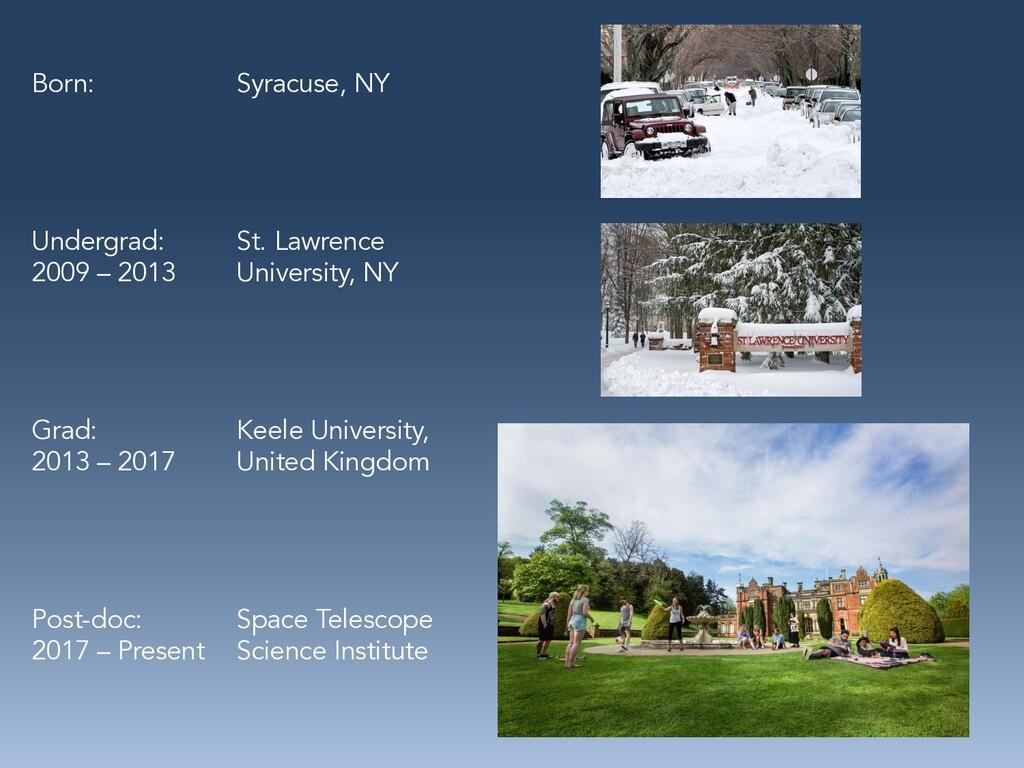 Born: Syracuse, NY Undergrad: St. Lawrence 2009...