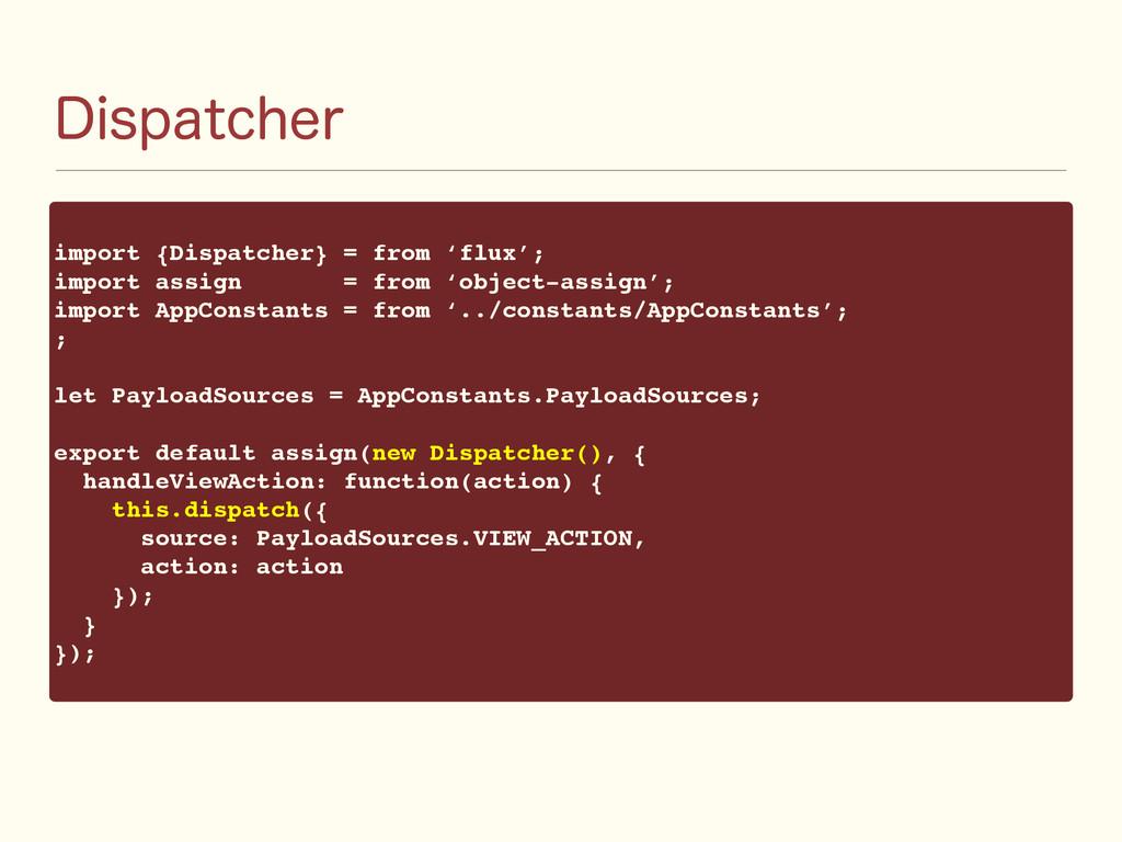 %JTQBUDIFS import {Dispatcher} = from 'flux'; i...