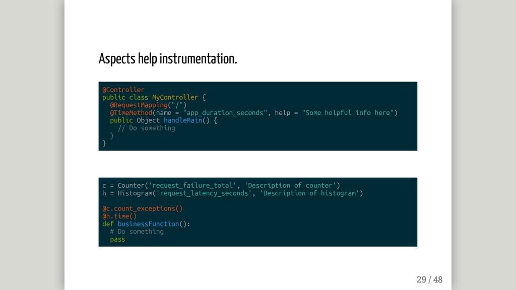 Aspects help instrumentation. @Controller publi...