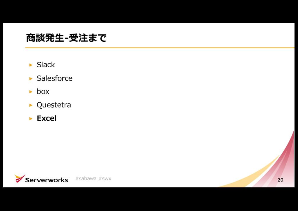 商談発⽣-受注まで Slack Salesforce box Questetra Excel ...