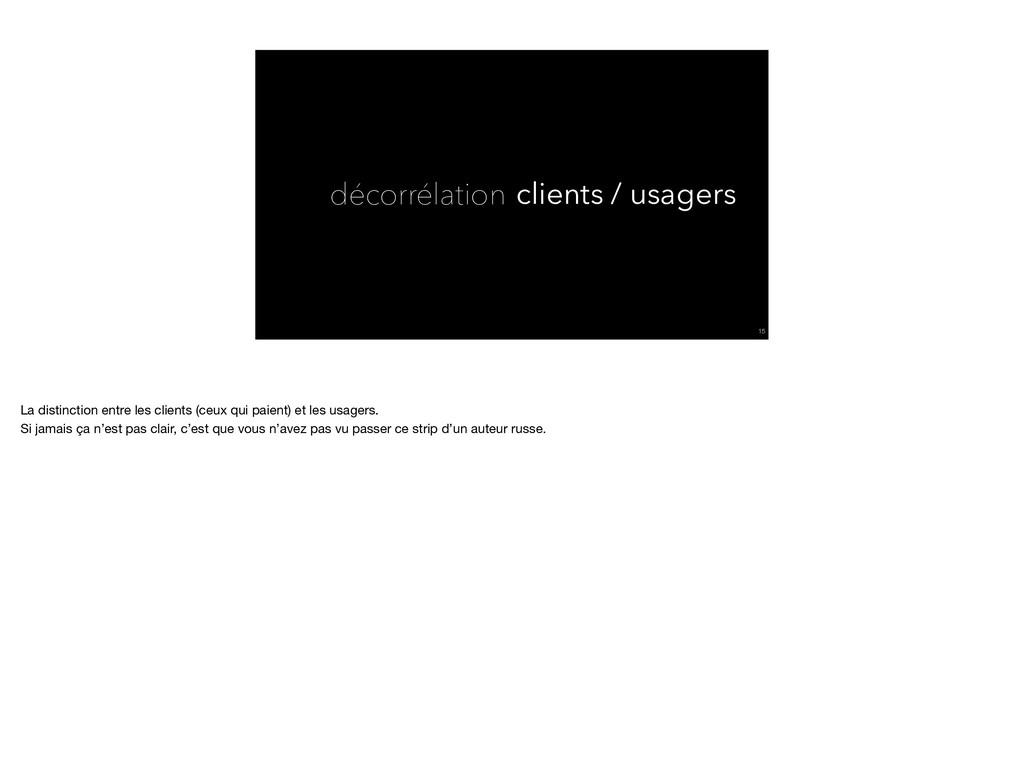 décorrélation !15 clients / usagers La distinct...